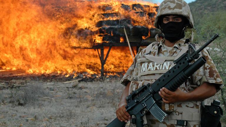 fgsdfEin mexikanischer Marine-Soldat setzt sieben Tonnen Marihuana in Flammen am 10.07.2009.