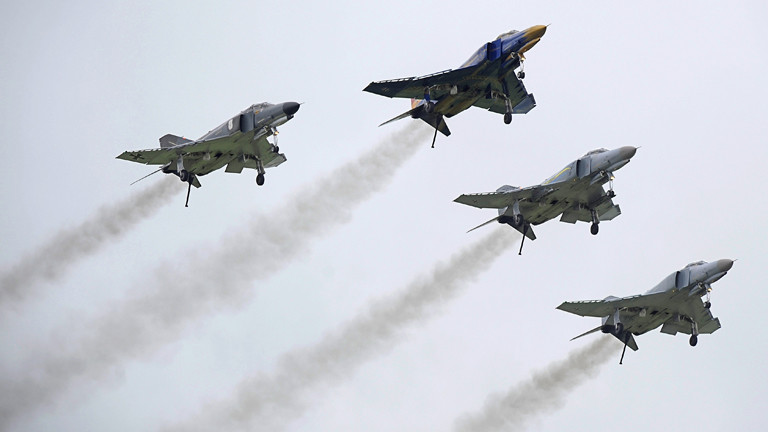 Phantom-Kampfjets bei ihrer offiziellen Verabschiedung aus der Bundeswehr.
