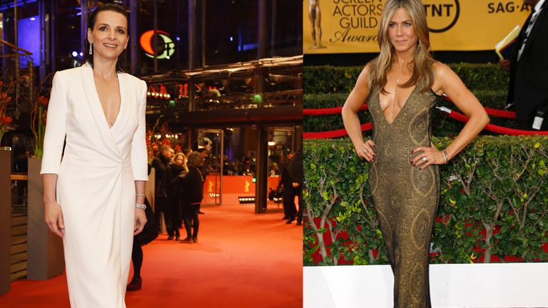 Juliette Binoche und Jennifer Aniston in Abendkleidern.