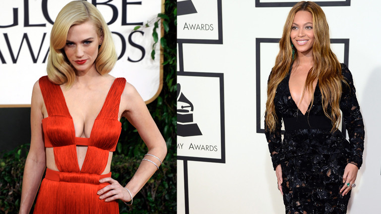 January Jones und Beyoncé in Abendkleidern.