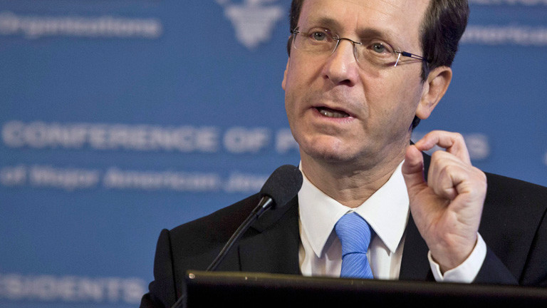 Jitzchak Herzog bei einer Rede. Er ist der Herausforderer von Benjamin Netanjahu.