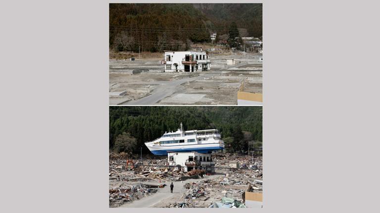 Zwei Bilder zeigen eine Szene vor und nach dem Tsunami 2011 in Japan. Auf dem oberen Foto ist ein einzelnes Haus zu sehen. Auf dem unteren ist das Haus teils zerstört und auf dem Haus ist ein Schiff angespült worden; Bild: dpa
