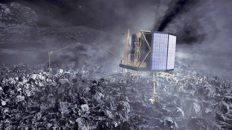 "Illustration des Landeroboters ""Philae"" auf dem Kometen ""Tschuri""; Bild: dpa"