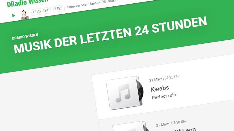 Der Screenshot zeigt die Playlist von DRadio Wissen am 31.03.2015.