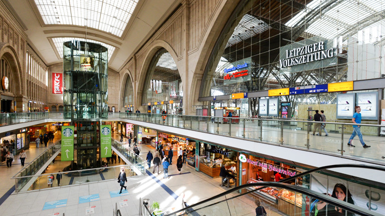Blick in den Leipziger Hauptbahnhof.