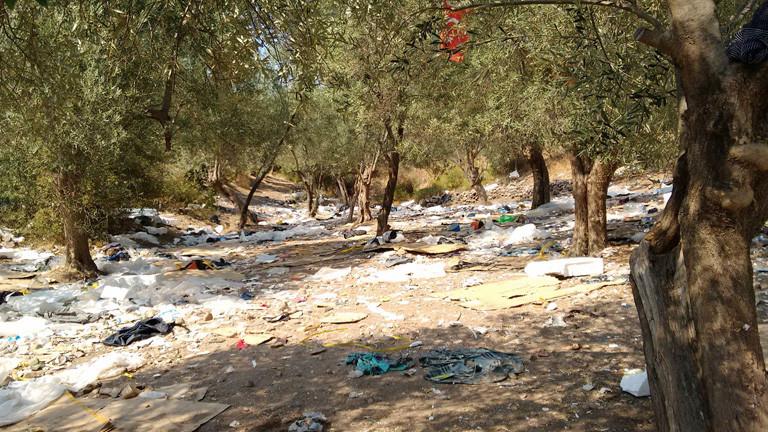 Ein illegales Lager von Flüchtlingen. Zwischen Bäumen liegen zurückgelassene Sachen.
