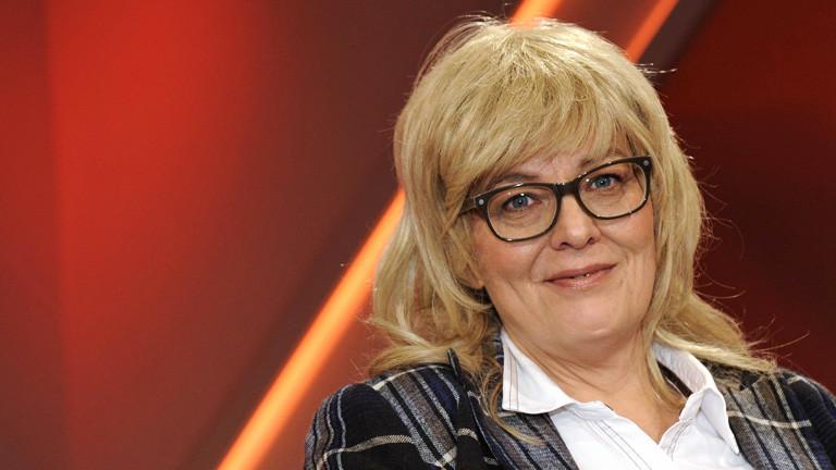 Marie Merklinger im TV-Studio.