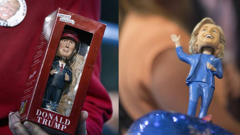 Bobbleheads Trump und Clinton