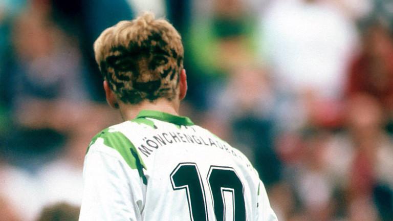 Der Fußballer Stefan Effenberg hat auf dem Hinterkopf einen Tiger in seine Haare einrasiert. Foto von  1994.