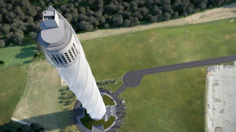 Blick von oben auf den Testturm von Thyssen Krupp; Foto: thyssenkrupp