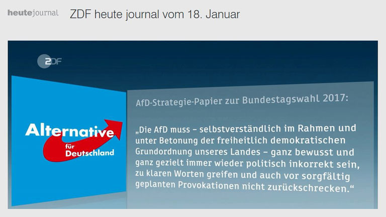 AfD-Strategiepapier im ZDF, Screenshot DRadio Wissen