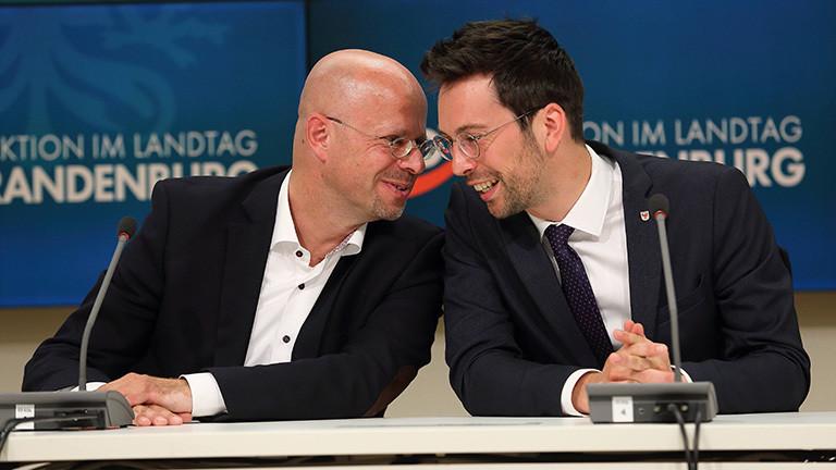 Andreas Kalbitz und Dennis Hohloch sitzen vergnügt nebeneinander; das Bild ist von einer Pressekonferenz zu den Ergebnissen einer Sondersitzung der AfD-Landtagsfraktion Brandenburg (04.08.2020)