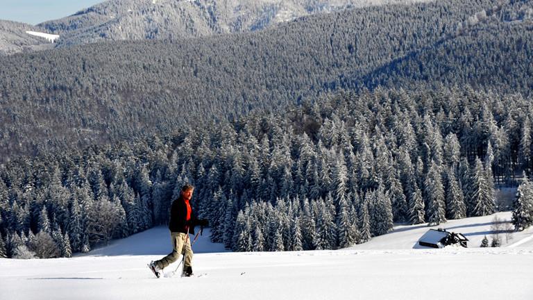 Ein Mann geht in einer Winterlandschaft im Schwarzwald spazieren.
