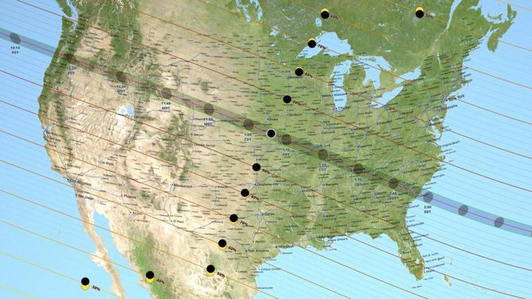 Grafik der Bahn der totalen Sonnenfinsternis in den USA