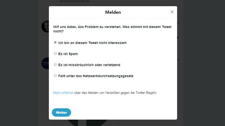 Screenshot: Melde-Formular Twitter
