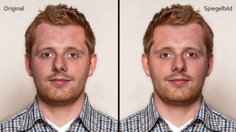 Ein Mann, einmal auf Foto normal, einmal gespiegelt