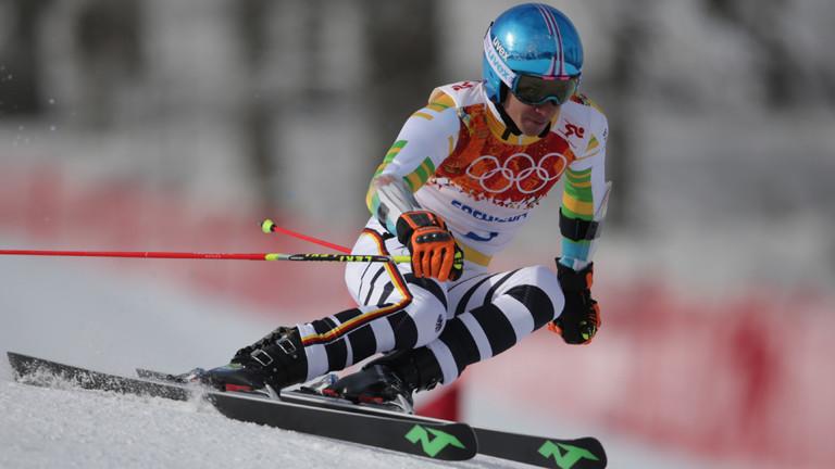 Felix Neureuther beim ersten Lauf im Slalom bei den Olympischen Spielen in Sotschi
