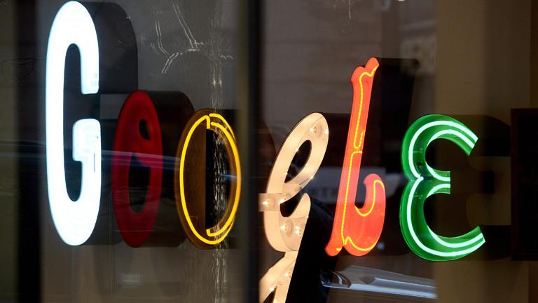 Google-Logo am New Yorker Büro des Unternehmens