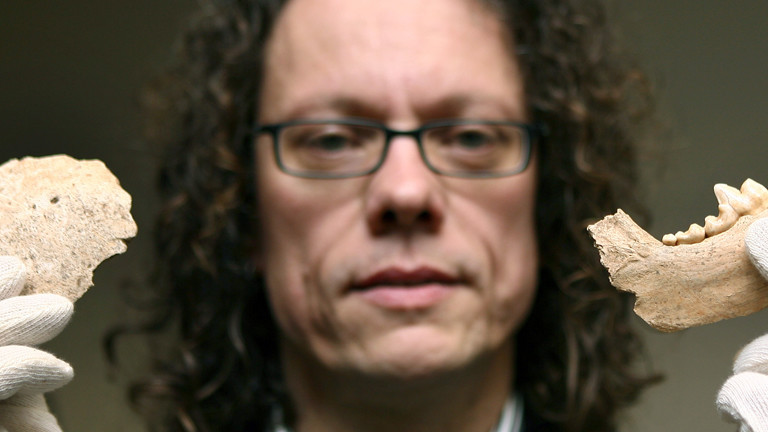 Der Archäologe Jörg Orschiedt zeigt den Teil eines menschlichen Schädels (l) und einen Wolfskiefer