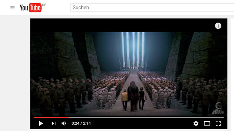"Youtube-Screenshot des Videos ""Star Wars minus Williams"" der ""Auralnauts"""