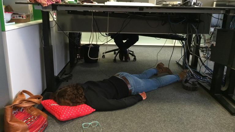 Sonja schläft - hier unter ihrem Schreibtisch.
