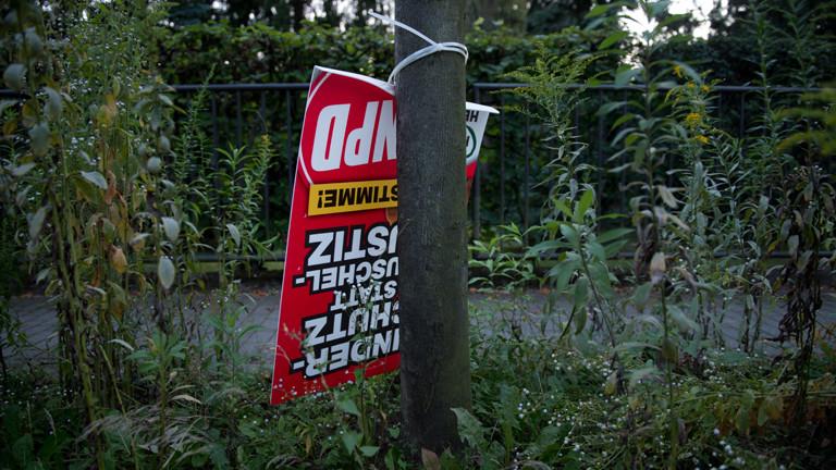 Ein Wahlplakat der NPD hängt am 11.08.2014 in Dresden (Sachsen) an einem Baum (dpa).