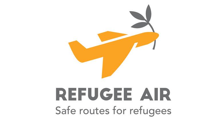 Refugee Air - ein Flugzeug mit Ölzweig ähnlich der Friedenstaube