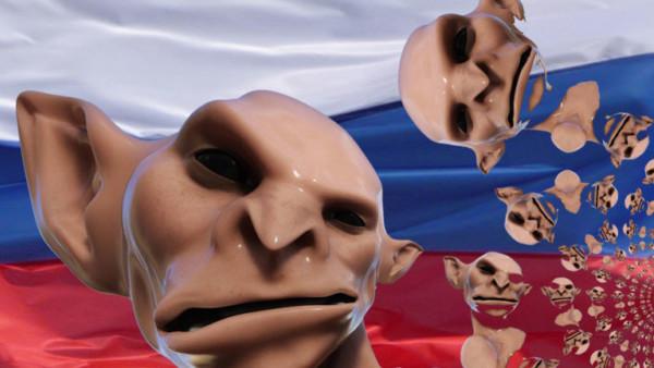 Computeranimierte Trolle vor russischer Flagge