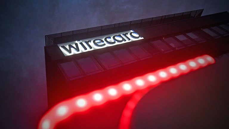 """Schriftzug """"Wirecard"""" am Gebäude des Finanzdienstleisters Wirecard, der nach einem Skandal Insolvenz angemeldet hat (01.07.2020)."""