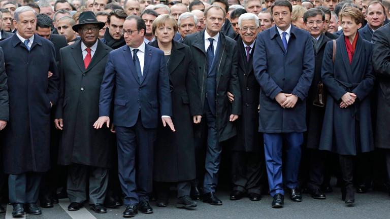Politiker aus der ganzen Welt beteiligen sich an der Anti-Terror-Demonstration in Paris.