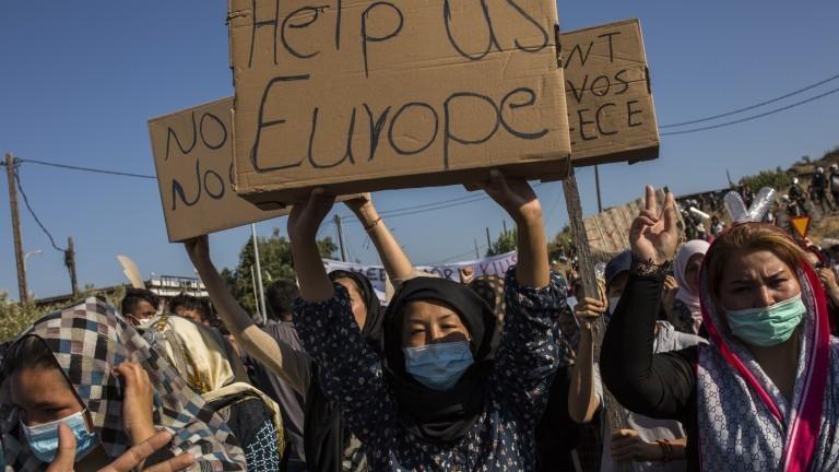 Proteste von Geflüchteten auf Lesbos