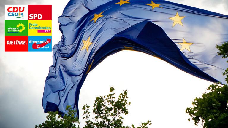Eine EU-Flagge weht im Wind. Oben links ist in das Bild eine Collage integriert, die die Parteilogos von CDU/CSU, SPD, Grüne, FDP, Linke und AfD zeigt.