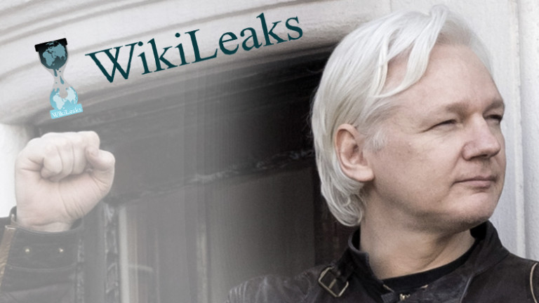Julian Assange und Wikileaks-Logo - Montage Deutschlandfunk Nova