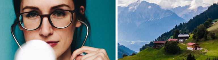 Eine Frau trägt ein Stetoskop (links); Blick auf ein Bergdorf (rechts).