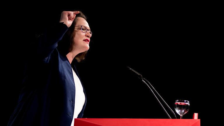 Am 14.04.2018 spricht Andrea Nahles (SPD) auf dem Landesparteitag der SPD-Niedersachsen..