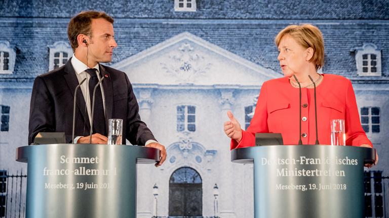 Emmanuel Macron und Angela Merkel bei der gemeinsamen Erklärung