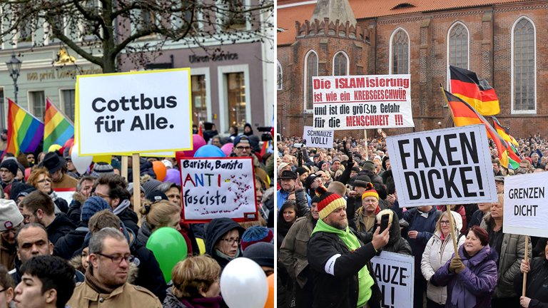 Im Februar demonstrieren Menschen sowohl für Asyl (links) als auch dagegen (rechts).