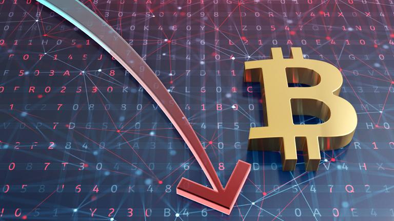 Grafik mit dem Symbol der Bitcoin-Währung und einem Pfeil, der nach unten zeigt