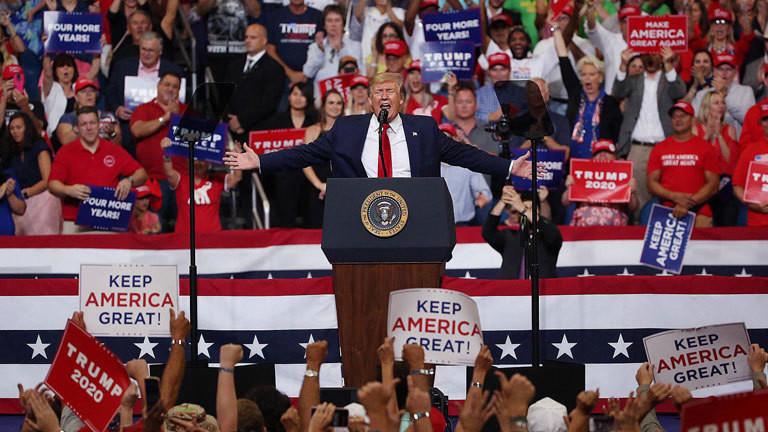 Donald Trump gibt bei einer Veranstaltung in Florida offiziell seine Kandidatur zur Wiederwahl im US-Präsidentschaftswahlkampf 2020 bekannt (16.06.2019)