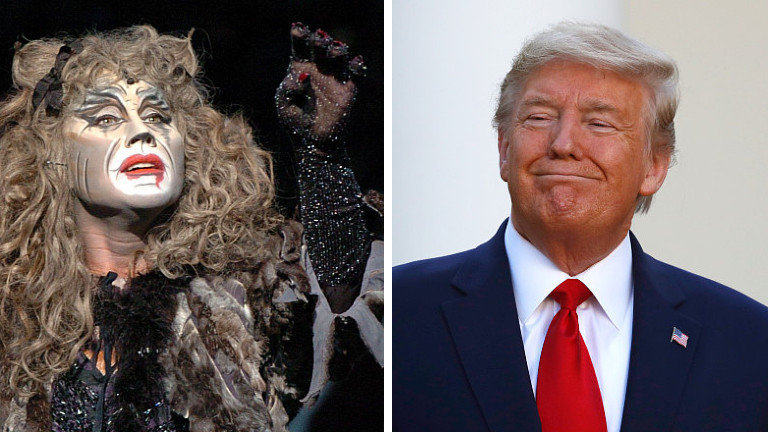 The feline character 'Grizabella', played by Nadja Solovieva, from the musical Cats sings the world famous song 'Memory' at the Capitol Theatre in Duesseldorf, Germany, 14 April 2004 // President Donald Trump listens during a briefing about the coronavirus in the Rose Garden of the White House, Monday, March 30, 2020, in Washington (Collage DLF Nova)