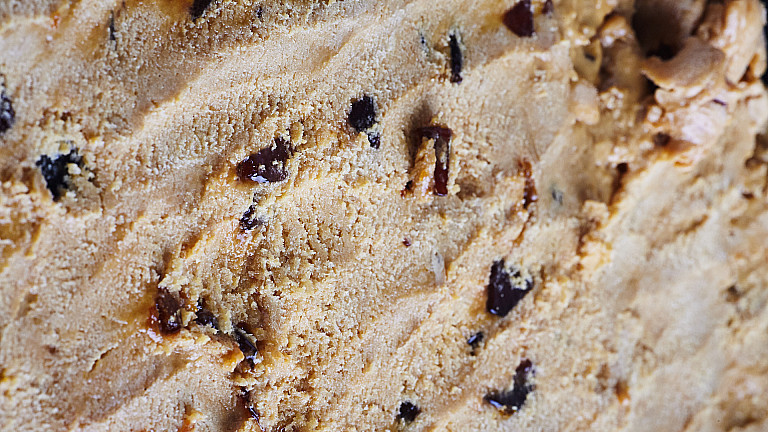 Ice cream with pieces macro detailed surface texture