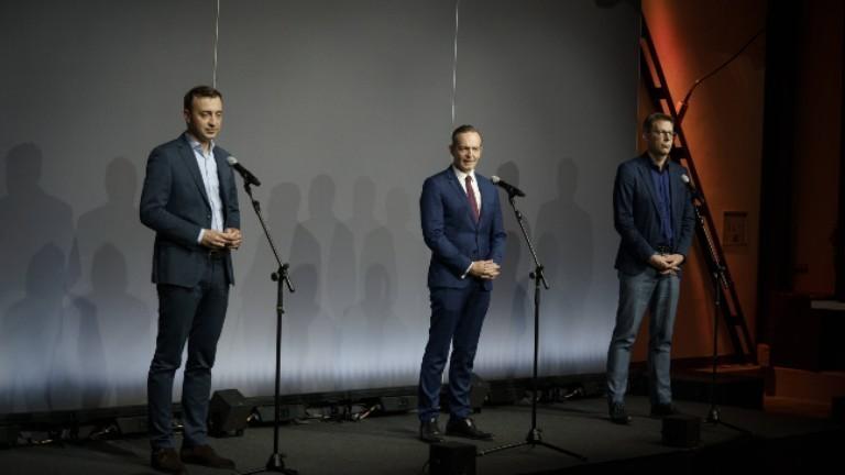 Paul Ziemiak, Generalsekretär CDU, Volker Wissing, Generalsekretär FDP, Markus Blume, Generalsekretär CSU (von links)