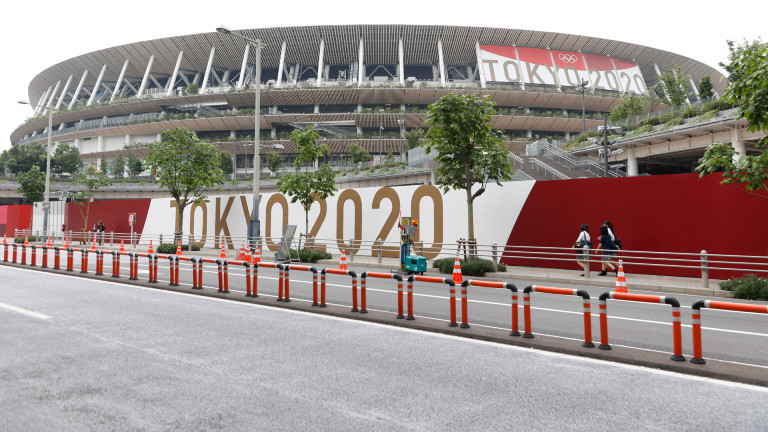 Tokyo, Japan: The National Stadium is seen on the day marking 16 days to go for the Tokyo Olympic Games