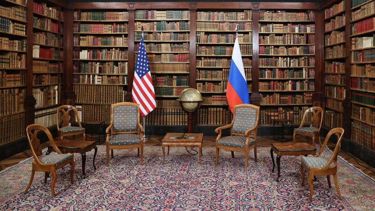 GENEVA, SWITZERLAND - JUNE 15, 2021: A room at the Villa La Grange arranged for Russian President Vladimir Putin and US President Joe Biden to hold their June 16 narrow-format meeting as part of the US-Russia summit.