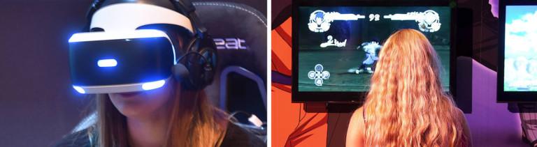 Frau mit VR-Brille und Frau vor einem Monitor bei der Gamescom
