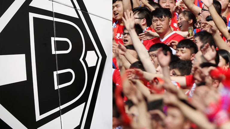 Collage: Logo von Borussia Mönchengladbach / Chinesische Fußballfans