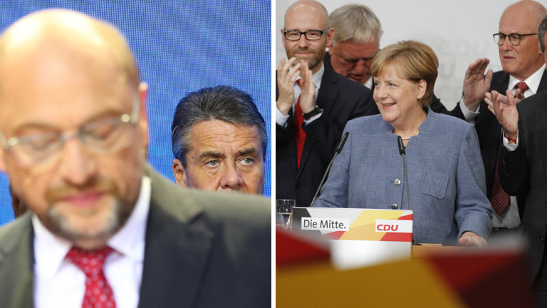 Collage: Martin Schulz und Angela Merkel auf der Wahlparty nach der Bundestagswahl 2017