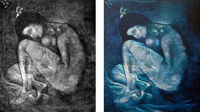 Left: x-ray of lost 'Lonesome Crouching Nude' found beneath 'The Blind Man's Meal' – right: full colour recreation by UCL