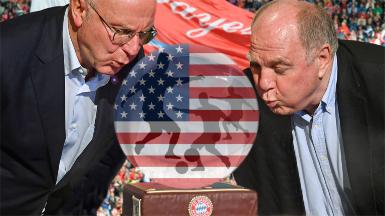 Fotomontage: Karl-Heinz Rummenigge und Uli Hoeness blicken auf eine Glaskugel, in der sie eine US-Flagge und Fussballprofis als Silhouetten sehen