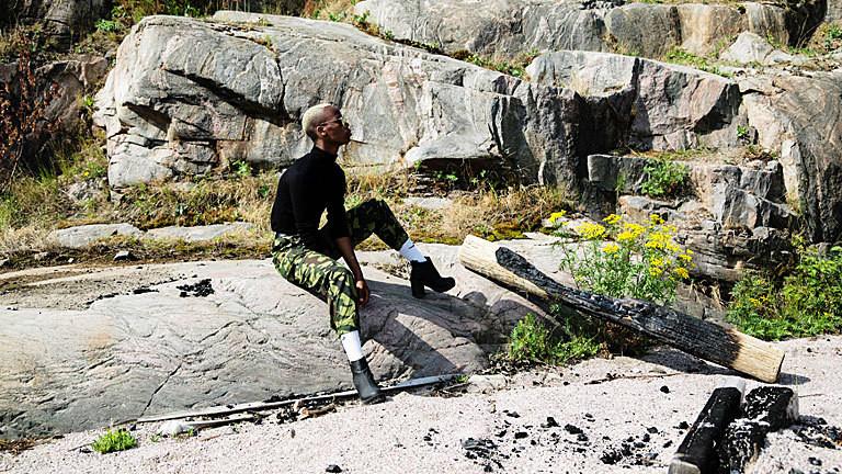 Model im Military-Look bei der Helsinki Fashion Week im Juli 2018